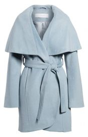 T Tahari Wool Blend Belted Wrap Coat at Nordstrom
