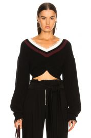 T BY ALEXANDER WANG HYBRID MEETS VARSITY TWIST FRONT SWEATER IN BLACK at Forward