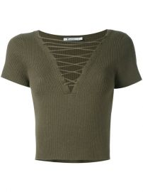 T By Alexander Wang Lace-up Ribbed Top at Farfetch