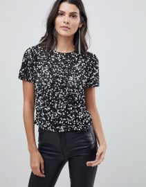 T-Shirt With Sequin Embellishment at Asos