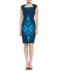 T Tahari Moxie Printed Cap-Sleeve Dress at Neiman Marcus