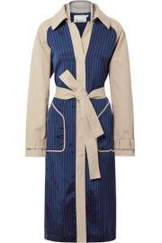 T by Alexander Wang   Cotton-gabardine and striped satin-twill trench coat at Net A Porter