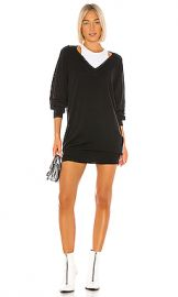 T by Alexander Wang Bi Layer Sweater Dress in Black  amp  White from Revolve com at Revolve