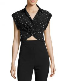 T by Alexander Wang Collared Knot-Front Crop Shirt  Black Pattern at Neiman Marcus