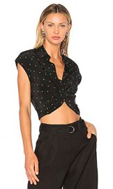 T by Alexander Wang Collared Knot Front Shirt in Black  amp  Emerald Print from Revolve com at Revolve