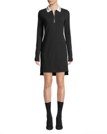 T by Alexander Wang Cotton Pique Polo Short Zip-Front Shirtdress at Neiman Marcus