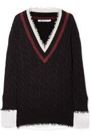 T by Alexander Wang Hybrid Varsity Knit Poplin Sweater at Net A Porter