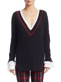T by Alexander Wang Hybrid Varsity Knit Poplin Sweater at Saks Fifth Avenue