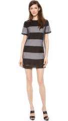 T by Alexander Wang Organza Overlay Striped Knit Tee Dress at Shopbop