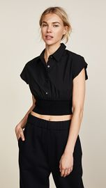 T by Alexander Wang Short Sleeve Button Down with Rib Detail at Shopbop