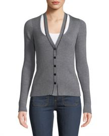 T by Alexander Wang Skinny Ribbed Layered Fitted Cardigan at Neiman Marcus