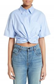 T by Alexander Wang Twist Front Crop Shirt at Nordstrom