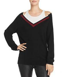 T by Alexander Wang Varsity Trim Layered-Look Sweater at Bloomingdales