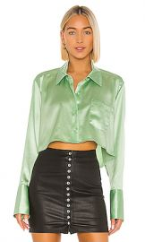 T by Alexander Wang Wet Shine  amp  Go Cropped Blouse in Mint from Revolve com at Revolve