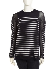 T by Alexander Wang long sleeve sheer inset tee at Last Call