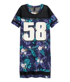 T-shirt Dress in Dark Blue Patterned at H&M