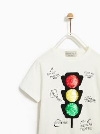 T-shirt with Sequin Traffic Light at Zara