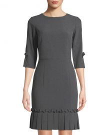 TAHARI ASL SHARKSKIN PLEATED HEM SHEATH DRESS at Last Call
