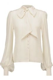 TALITHA Pussy-bow silk crepe de chine blouse at The Outnet