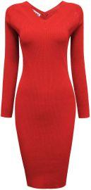 TAM WARE Women Casual V-Neck Knit Sweater Bodycon Midi Dress at Amazon