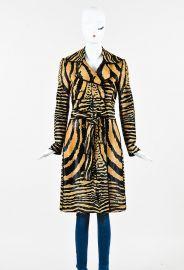 TAN DARK BROWN PONY HAIR ANIMAL PRINT TIE BELTED TRENCH COAT at Luxury Garage Sale