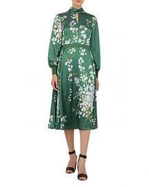 TED BAKER JHENNI GRACEFUL-PRINT SATIN DRESS at Bloomingdales
