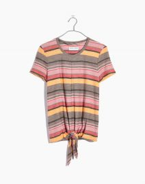 TEXTURE and THREAD MODERN TIE-FRONT TOP IN KIERAN STRIPE at Madewell