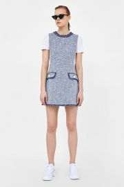 TEXTURED WEAVE DRESS WITH BUTTONS at Zara