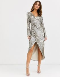 TFNC long sleeve sequin wrap midi dress with front drape details in silver and gold   ASOS at Asos