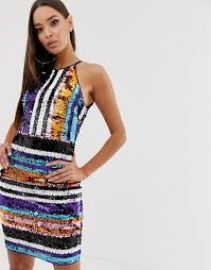 TFNC striped sequin high neck bodycon dress in multi   ASOS at Asos