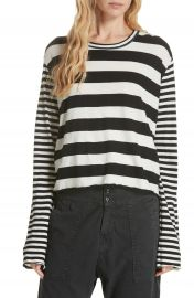 THE GREAT  Stripe Crop Tee at Nordstrom