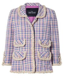 THE Marc Jacobs - Frayed checked cotton-tweed jacket at Net A Porter