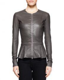 THE ROW Anasta Leather Peplum Jacket Charcoal at Neiman Marcus