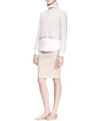 THE ROW Cropped Turtleneck Sweater Button-Up Blouse and Heavyweight Denim Skirt at Neiman Marcus