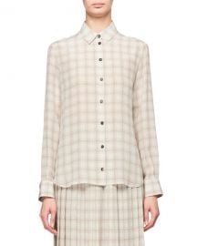 THE ROW Jonas Squiggle Print Button-Front Silk Shirt at Neiman Marcus