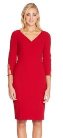 THREE QUARTER SLEEVE SHEATH DRESS WITH CUTOUT ACCENTS at Adrianna Papell