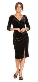 THREE QUARTER SLEEVE VELVET FAUX WRAP DRESS WITH ASYMMETRICAL SLIT at Adrianna Papell