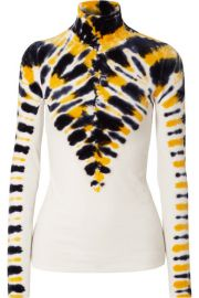 TIE-DYED STRETCH-VELVET TURTLENECK TOP at Net A Porter