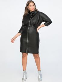 TIE NECK FAUX LEATHER DRESS at Eloquii