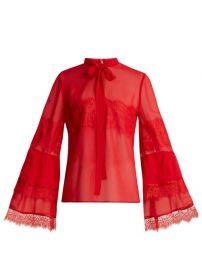 TIE-NECK LACE-TRIMMED SILK-GEORGETTE BLOUSE | GIAMBATTISTA VALLI at Matches