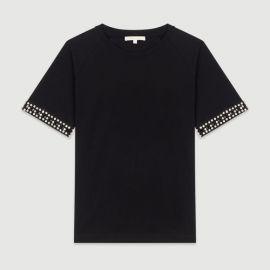 TIMINI Open-work T-shirt with rhinestone at Maje