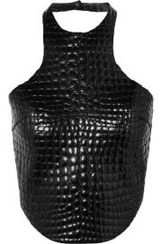 TOM FORD - Cropped croc-effect leather halterneck top at Net A Porter