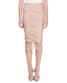 TOM FORD Lace-Hem Ruched Pencil Skirt at Neiman Marcus