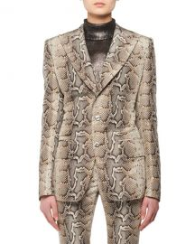 TOM FORD Two-Button Snake-Print Stretch-Cotton Twill Jacket at Neiman Marcus