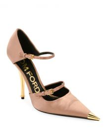 TOM FORD Two-Strap Satin Mary Jane Pumps with Pointed Metal Toe at Neiman Marcus