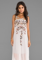 TWELFTH STREET BY CYNTHIA VINCENT Beautiful and Damned Metallic Strap High-Low Dress in Mirror Bird at Revolve
