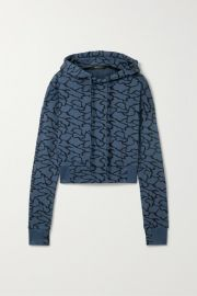 TWENTY Montr  al - Hyper Reality cropped cotton-blend jacquard-knit hoodie at Net A Porter
