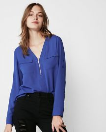 TWO POCKET ZIP FRONT CHELSEA POPOVER at Express