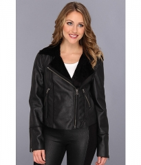 TWO by Vince Camuto Shearling Side Zip Jacket Rich Black at 6pm