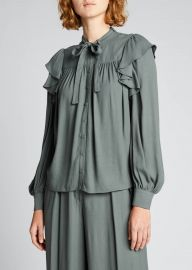 Tabitha Tie-Neck Ruffle Blouse at Bergdorf Goodman
